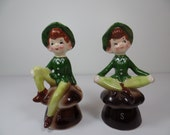 Vintage Enesco Elves Salt & Pepper Shaker Set - Elves Salt and Pepper Shakers - Enesco Elves Shakers - Green Elves Shakers - Enesco Shakers