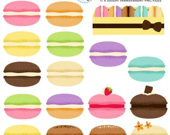 Macarons Clipart Set - clip art set of macarons, pastry, french macaron, macaroons - personal use, small commercial use, instant download