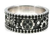 Bike Chain Ring - Steam Punk Silver Gear Ring - Industrial Wedding