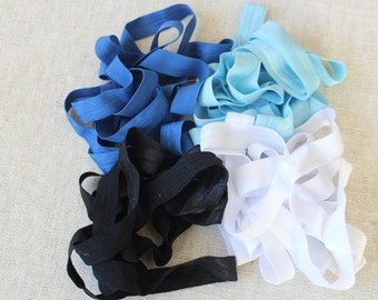Fold over elastic 4 colors  2 yards of each color 5/8 inch wide