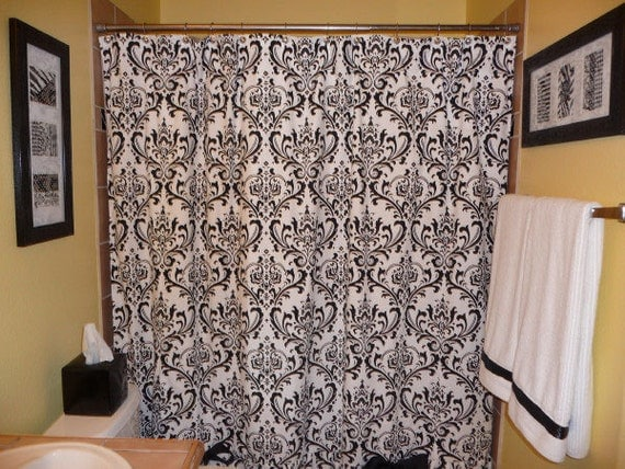 items similar to damask shower curtain choose length and color regular 72 84 or 96 extra long. Black Bedroom Furniture Sets. Home Design Ideas