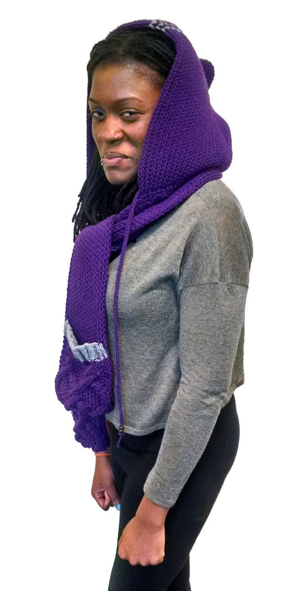 Loom Knit Hooded Scarf Pattern : Instant Download Loom Knitting Pattern Easy Scoodie/ Hooded Scarf/ Snood hand...