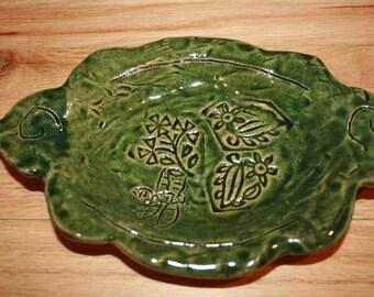 Handmade green pottery tray, decorative plate, trinket tray