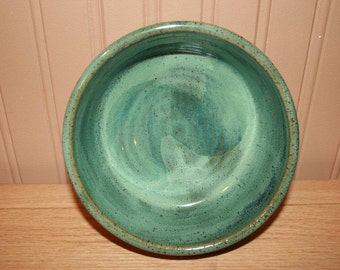 Green pottery bowl, salad bowl, cereal bowl, ice cream bowl