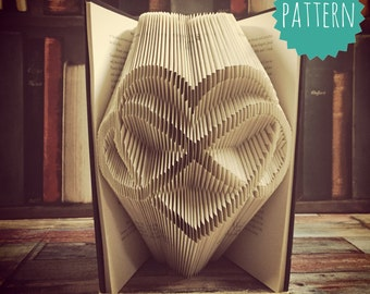 Folded Book Art Infinity heart Pattern & tutorial, gift, home, decoration, love