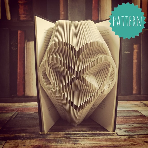 Folded book art infinity heart pattern amp tutorial gift home