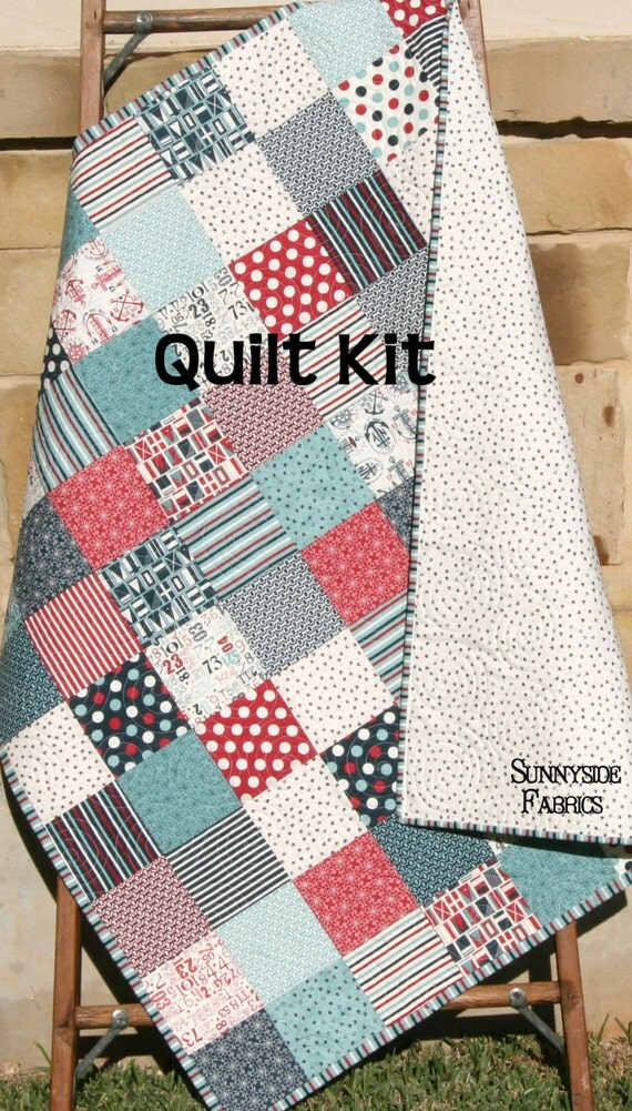 Boat House Quilt Kit Sweetwater Moda Fabrics Red Blue Navy
