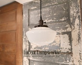 "Schoolhouse Light With 10"" Opal Schoolhouse Glass Shade and Exposed Socket Design"