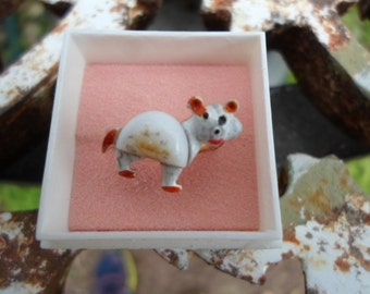 Vintage 1960s to 1970s NIB Gold Tone Adjustable White and Red Enamel and Glass Cat/Bear Ring Little Girl NOS