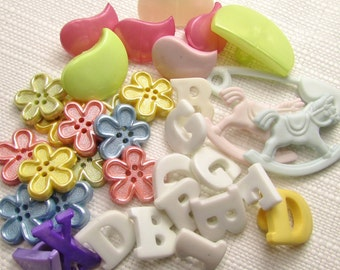 All Things Pastel: Shaped Button Assortment - Set of 30 New / Unused Buttons