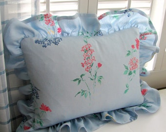 Baby Blue Floral Ruffled Pillow Cover