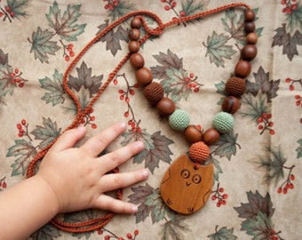 Woodland Owl Nursing Necklace / Teething Necklace / Mom Jewelry / Necklaces for Moms - Hand Crafted in Europe by KangarooCare