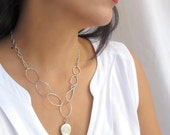 Leaf Necklace - Silver leaf necklace, Double Sided Pendant, Green Leaf