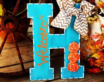 "Turquoise & Orange Hand-painted 13"" Initial Door Hanger With Rosette Accents"