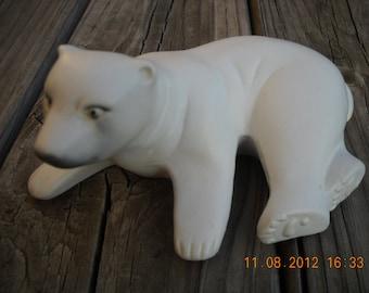 Vintage Ceramic White Polar Bear Figurine Brazil collectable Bohemian decor