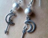 Sterling Silver Stardust Earrings, Crescent Moon Earrings, Cosmic Earrings