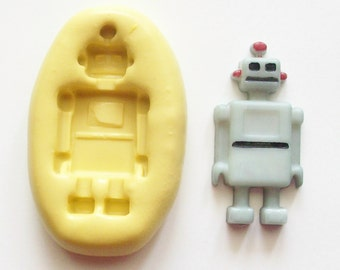 Robot Mold #367 - silicone mold, craft mold, porcelain mold, jewelry mold, food mold, pop up mold, clays mold, flexible mold