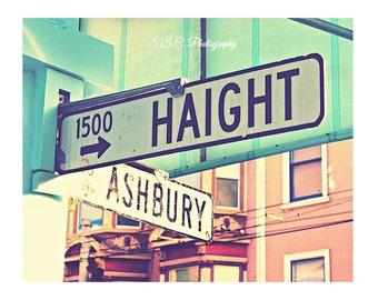 "San Francisco Photo. Haight Ashbury Sign. ""Haight Ashbury""  Blue. mint. Pink. Vintage. Retro. girly art print. City. Street signs"