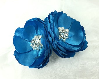 Aqua Blue Hair Clip - Brooch Fabric Flowers are Embellished with Swarovski Sew on Crystals Pearls for a Bride, Bridesmaids Gift, Kia