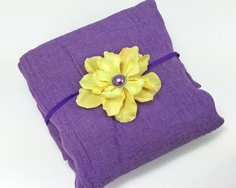 Purple and Yellow Newborn Photo Prop - Cotton Cheesecloth Wrap and Silk Flower Headband for New Baby Girl, Baby Shower Gift