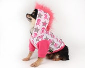 Dog hoodie Hot pink skulls with Mohawk dog sweater clothes for dogs