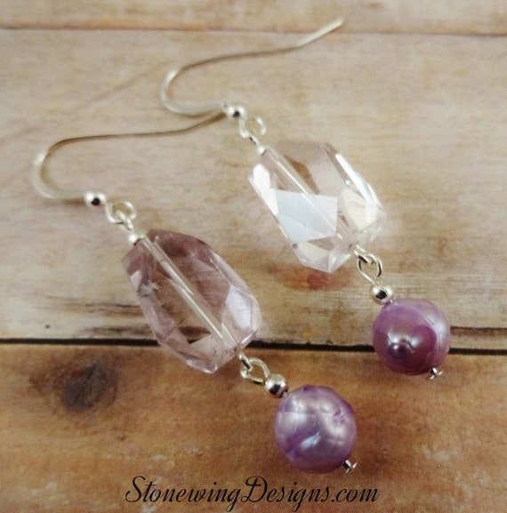 Amethyst and Pearl Earrings, Amethyst Earrings, Birthstone earrings, February Birthstone jewelry, Large stone earrings, Unique Earrings