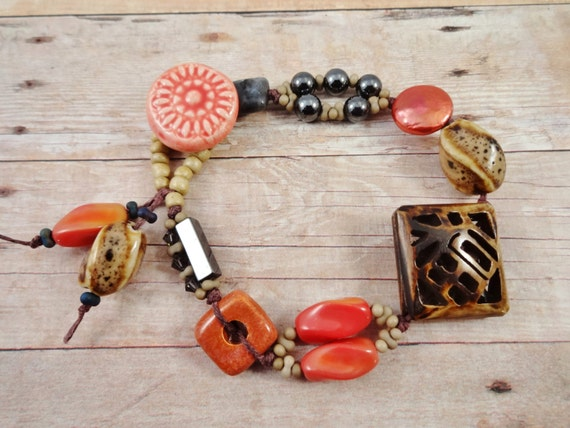 Rustic Boho Bracelet and Earring Set, Carved Wood, Handmade Ceramic, Stone, Pearl