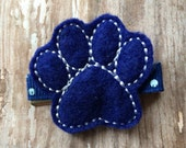 Royal Blue and White University of Kentucky Wildcats Paw Felt Hair Clip Babies, Toddlers, Girls