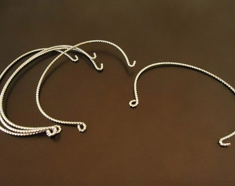 F-586. 2 pcs, Bangle Bracelet  Findings - Original Rhodium plated
