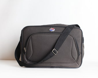 Vintage Grey American Tourister Messenger Tote Bag, Carry On Luggage