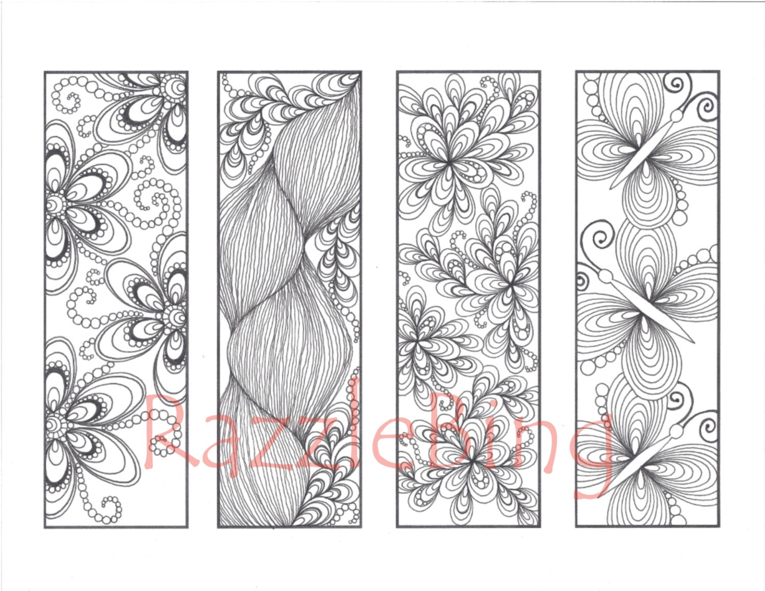 valentine bookmarks to color : Diy Bookmark Printable Coloring Page Zentangle Henna Inspired Butterflies And Blooms Zendoodle Doodle Pdf Instant Download