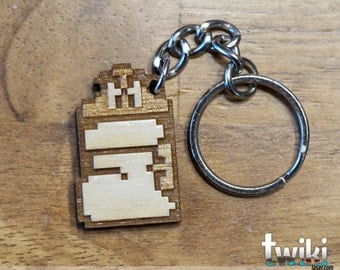 8bit Goomba Shoe wood keyring OR charm accessory