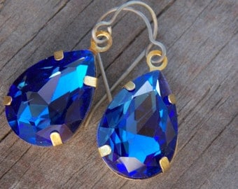 Titanium Earrings, Dark Blue Glass Teardrops, Set in Brass with Hypoallergenic Titanium Ear Wires, September Birthstone