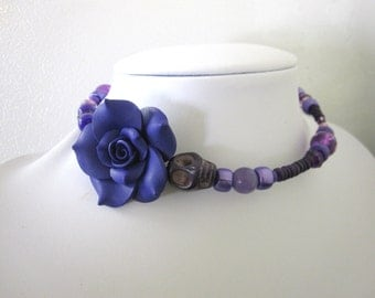 Day of the Dead Necklace Sugar Skull Choker Memory Wire Purple Rose