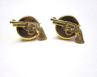 Gun Pistol Revolver Cuff Links Western Cufflinks Gold
