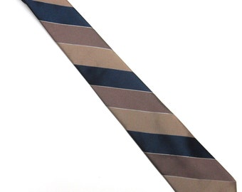 "Brown Blue Necktie Don Loper 3"" Wide Tie Stripe"