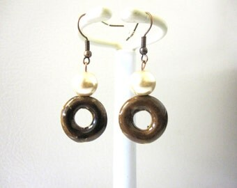 Earrings Copper Brown Porcelain Pearl