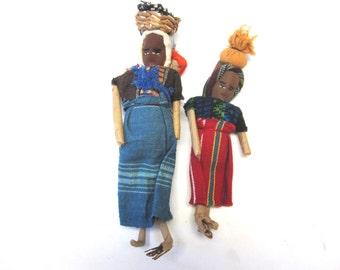 Vintage Folk Art Doll Set of Two Village Women Primitive