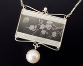 Keum Boo silver necklace of the moon and blossoms motif