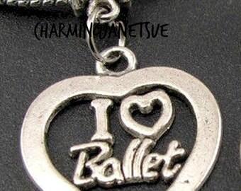 Closing Bracelet Supplies 4pc I LOVE BALLET Heart PENDANT Charm Gift Ballerina Jewelry Dancer