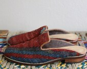 Vintage kilim wool carpet flats- slip ons- slippers size 6- made in turkey