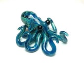 Small Glass Octopus pendant Electric Blue