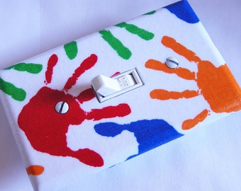 RAINBOW HANDPRINTS Light Switch Cover Plate Switchplate Kids Bedroom Decor