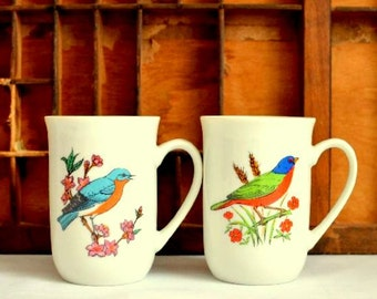 Vintage Bird Lover Teacups:  Set of Two