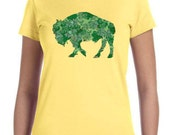 Ladies T-shirt Irish Shamrock Buffalo Alison Kurek yellow black green mosaic shamrocks