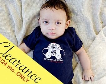Clearance Baby Infant One Piece Bodysuit Cop and Police Car Buffalo Hero Cute Navy