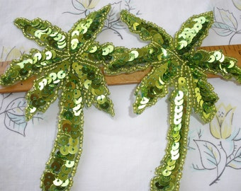 Pairs of Palm Tree Appliques Green Sequin beaded Embellishment  Embellish Tshirt Jacket cool sew on iron on glue
