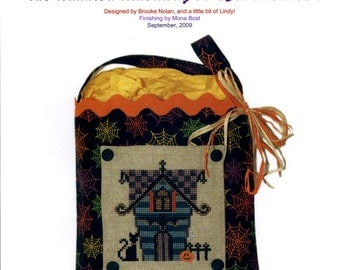 The Haunted Hideaway on 13th Avenue! (OOP) - a Secret Needle Night Cross Stitch Kit by The Silver Needle with Magic Mona Finishing Kit