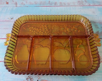 Vintage Amber Glass Fruit Tray, Glass Serving Tray, Indiana Glass, Amber Indiana Glass