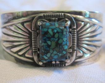 Vintage Turquoise Cuff Bracelet Sterling Silver Cuff Bracelet Turquoise Bangle Signed